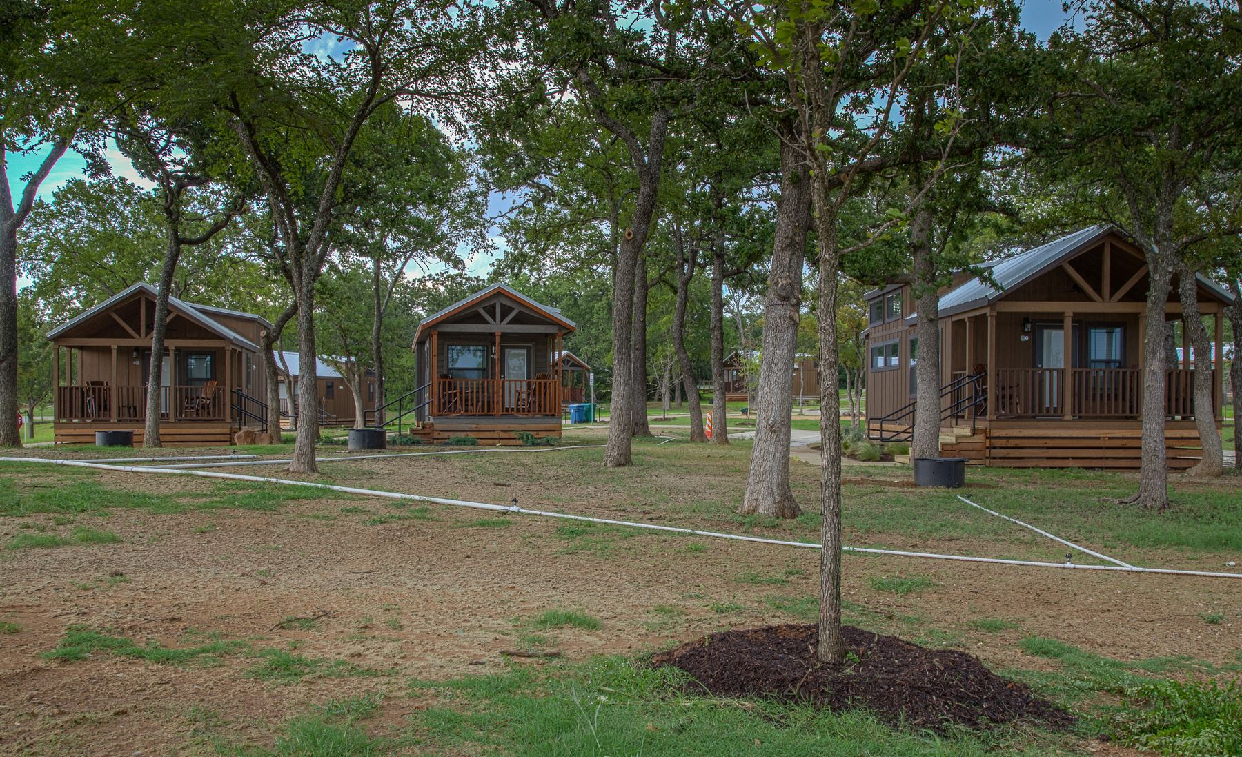 View of three cabins at Twin Coves Park