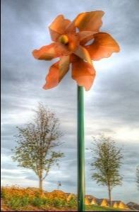 Photo of Large Orange Pinwheel in the River Walk at Central Park