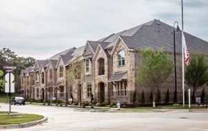 photo of a row of houses in the River Walk development in Flower Mound
