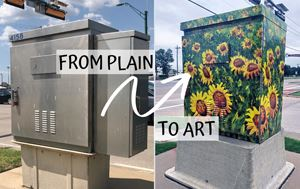 "A plain traffic box and a traffic box with sunflowers over it with the text saying ""Plain to Art&"