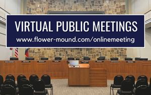 Graphic Showing Council Chambers with text saying virtual public meetings