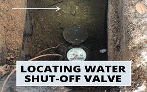 "graphic that says ""Locating Water Shut-Off Valve"""