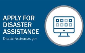 "FEMA graphic that says ""Apply for Disaster Assistance"""