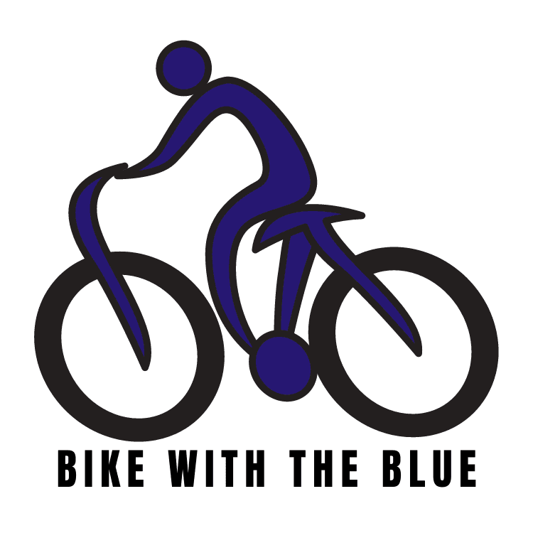"photo of a blue figure on a bike with the text ""Bike with the Blue"""