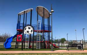 photo of the new soccer-themed upgrades at Chinn Chapel Playground
