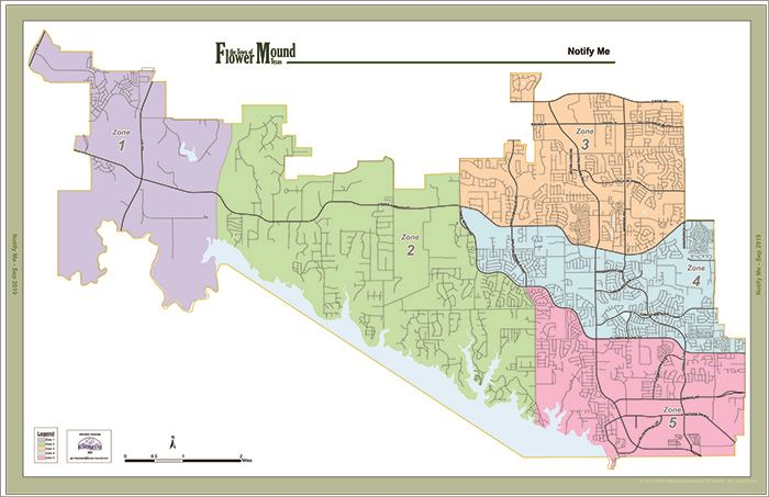 Map of Flower Mound Divided into Numbered Zones